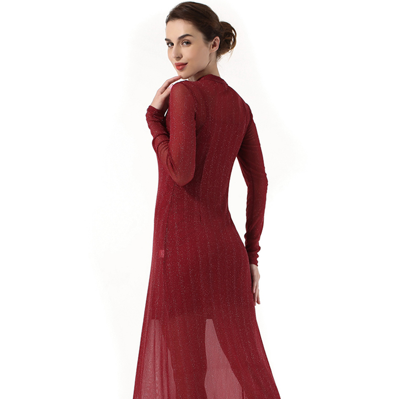 Spring new solid color slim long sleeved dress bow tie two piece elegant party dress in Dresses from Women 39 s Clothing