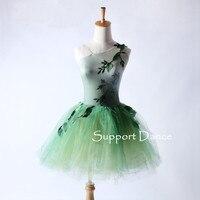 Tree Leaves Ballet Tutu Dress Children Adult One Shoulder Neckline Performance Costume Support Dance C294