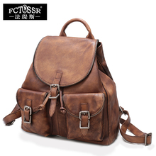 Women Backpack Vintage Genuine Leather Handmade Casual Backpack Cow Leather Women Top Handle Bags