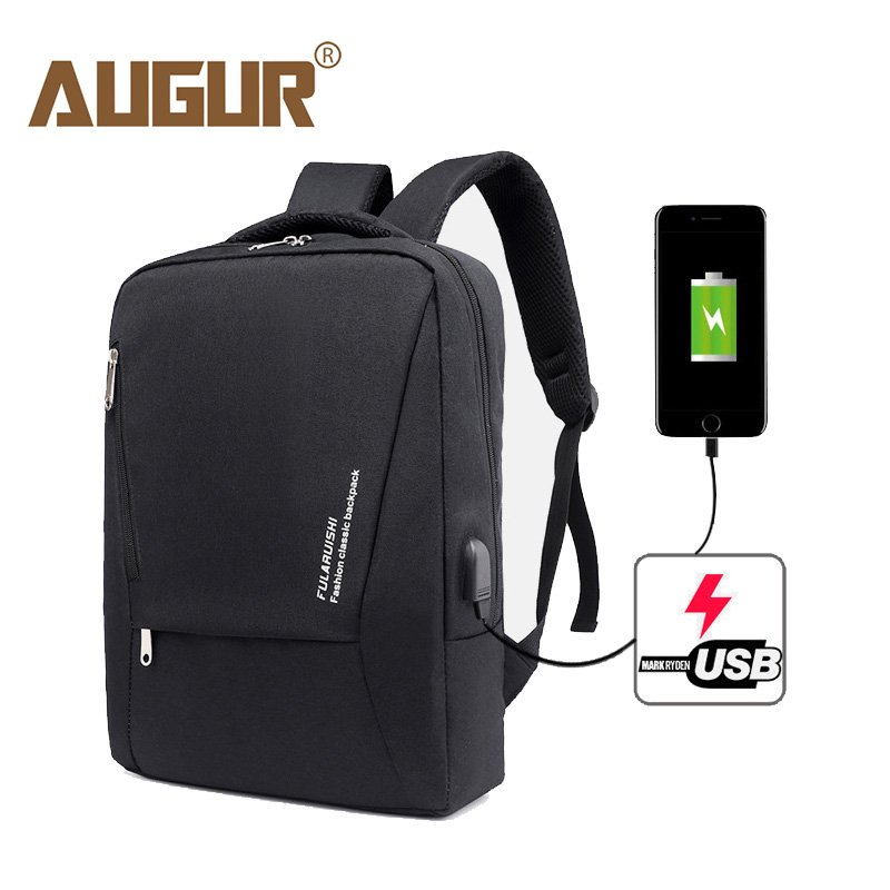 AUGUR Backpack Male Large Laptop Backpack 15.6 Inch Oxford Waterproof USB Charging Backpacks Black Mens Back Pack School Bag