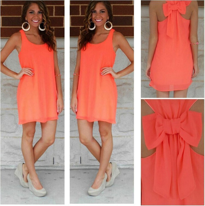 Summer dress women bow dress