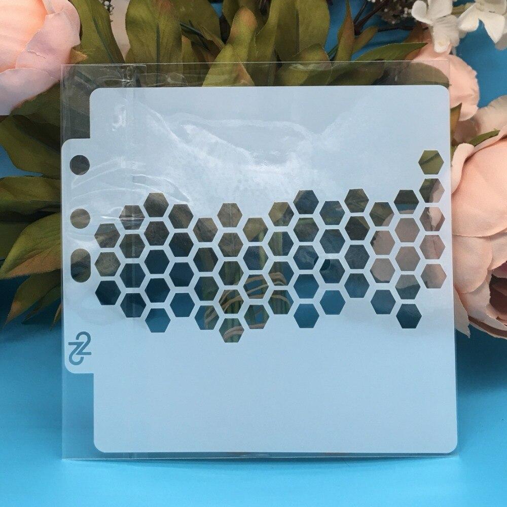 13cm New Hive Hexgen DIY Layering Stencils Wall Painting Scrapbook Coloring Embossing Album Decorative Card Template