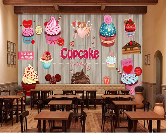 Online Shop Beibehang Personality Fashion Wallpaper Paper Cup Cake
