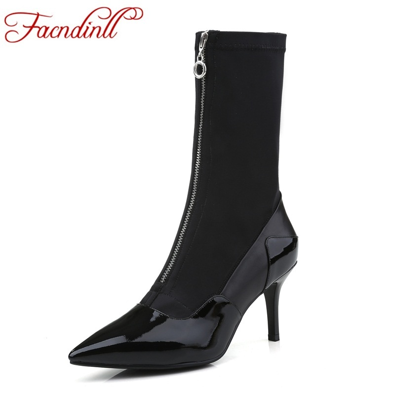 FACNDINLL new design brand shoes fashion ankle boots autumn winter high thin heels pointed toe dress shoes woman chelsea boots facndinll women ankle boots new fashion autumn winter genuine leather high heels lace up shoes woman dress party short boots