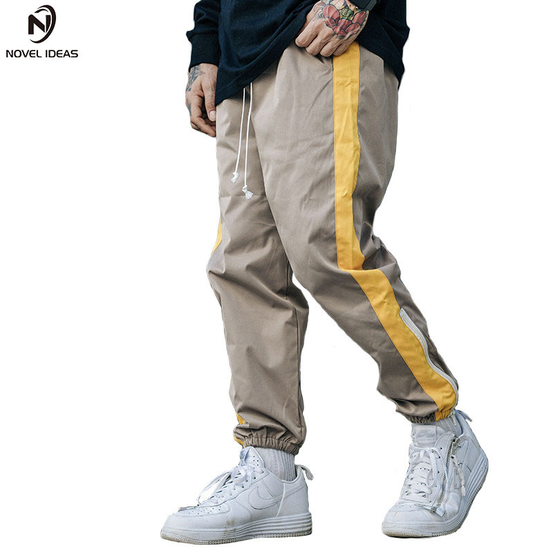 Hip Hip Baggy Pant Men Harajuku Jogger Sweatpant Side Striped Pants Streetwear Patchwork Casual Track Sweat Trousers 2018 Spring