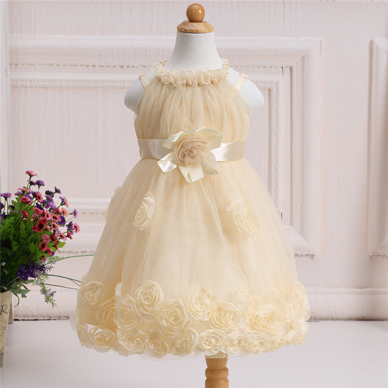 2017 Summer Beading Flower Girls Embroidery Dress Bow Tie Champagne Wedding Pageant Princess Party Dresses Children Clothes 2017 new european fashion embroidery flower girls dress wedding pageant summer children princess birthday party lace dresses