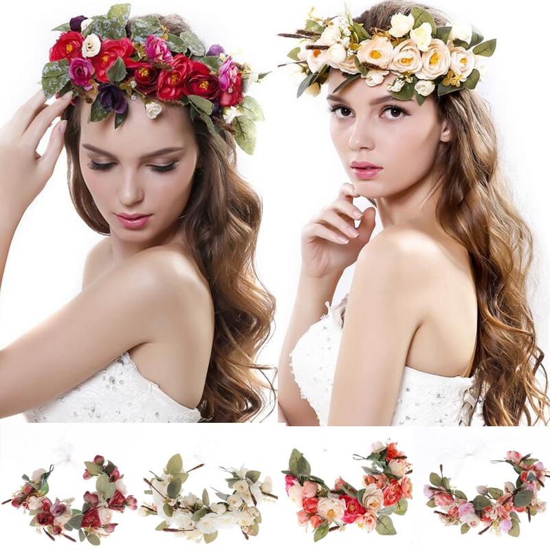 Femmes Fleurs Guirlande de mariée fleur Couronne bandeau Enfants Partie  Fleur hairband accessoires de cheveux coréenne réglable Floral guirlandes