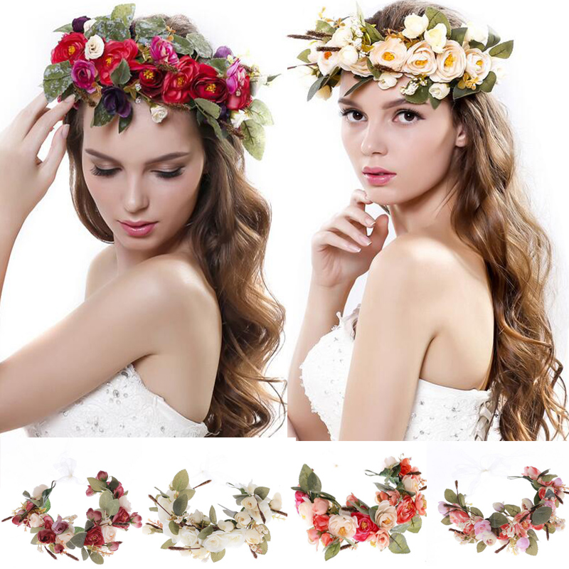 Women Flowers Wreath bridal flower Crown headband Kids Party Flower hairband korean hair accessories adjustable Floral garlands metting joura vintage bohemian green mixed color flower satin cross ethnic fabric elastic turban headband hair accessories