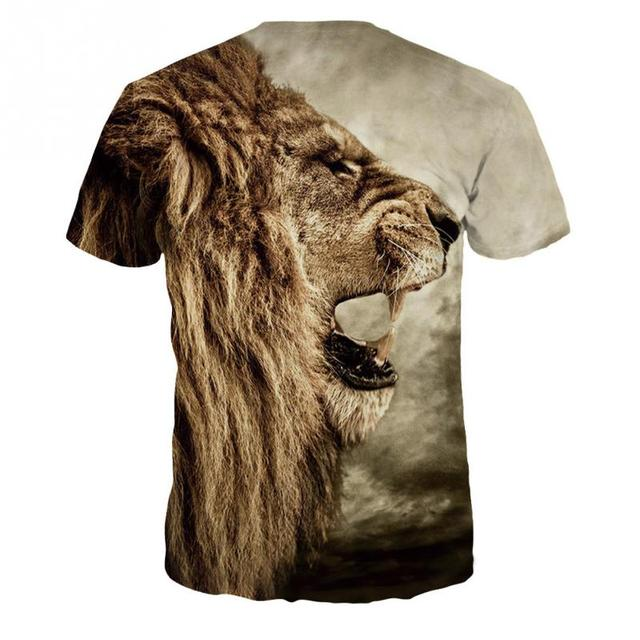 2017 New Fashion 3D T- Shirt  Lion Head Printed Creative Design