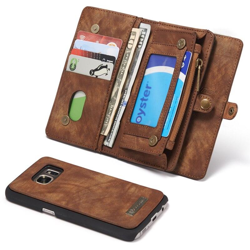 imágenes para Para Magnética Cremallera Cartera Coque Samsung Galaxy Funda de Cuero Flip Case Samsung Galaxy S7 S7 Cubierta de la Caja Del Bolso Del Teléfono Multifuncional