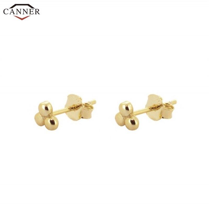 CANNER Delicate Flower Earrings For Women Girls Gold Color Stud Earrings 925 Sterling Silver Mini Earring 2019 Jewelry H40