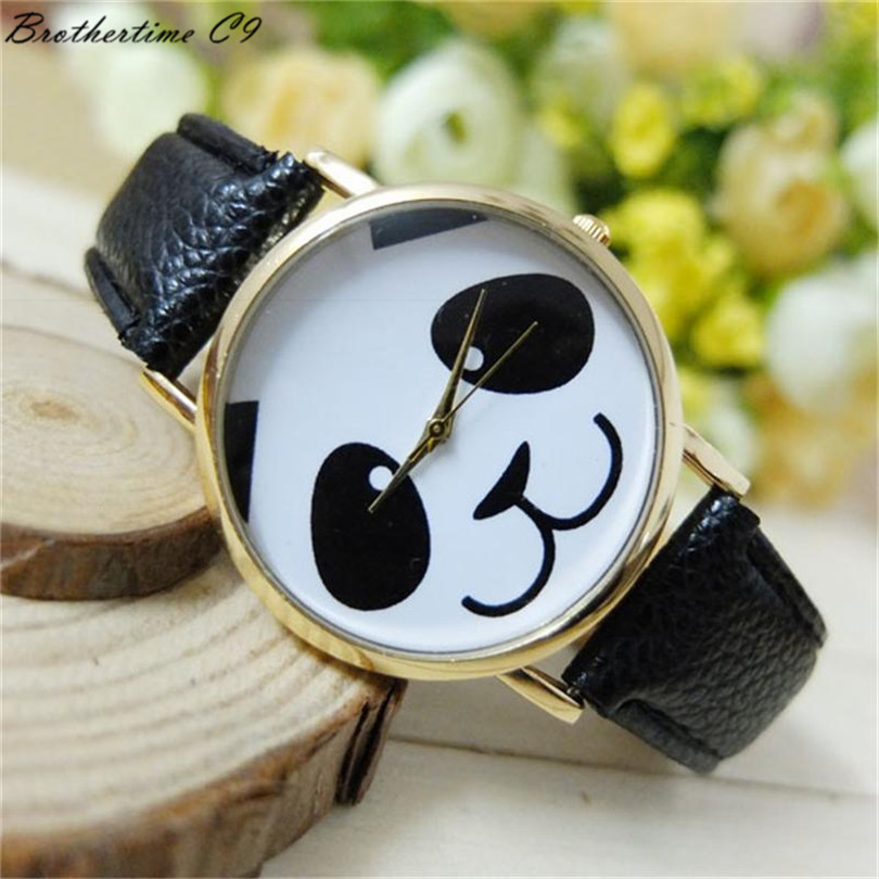 купить Women's Panda Pattern Round Dial Faux Leather Analog Quartz Watch Wrist Watch Dress Watch relogio Masculino Reloj Mujer недорого
