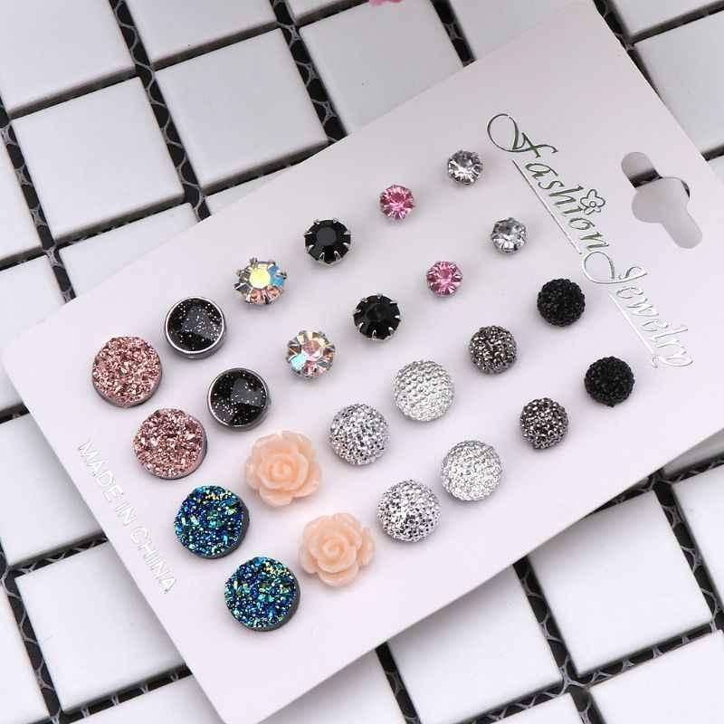 12 זוגות מגוון גבישי Druzy אבן שרף אבן עגול Stud עגילי סט נשים