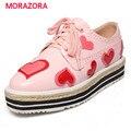MORAZORA Высокое качество натуральной кожи обувь, босоножки, мода сладкий оксфорд обувь для женщин большого размера 34-40 квартиры туфли на платформе