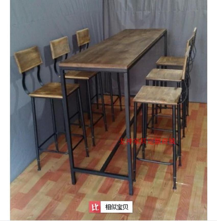 American village estilo loft hierro forjado mesas y sillas for Sillas de madera para bar
