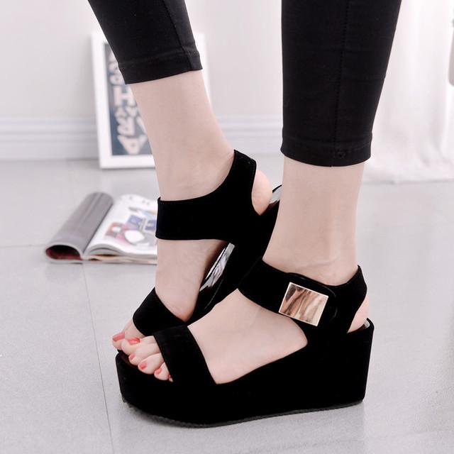 2017 mulheres cunhas sandálias sapatos de plataforma das mulheres sandálias da moda verão mulheres casuais sapatos Femininos frete grátis