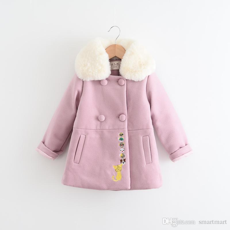 Sweet Girls Wool Blend Coats Fleece Collar Carton Pockets Fall Winter Outwears Multi Color Fashion Clothing