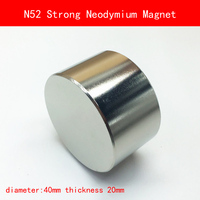 1PCS N52 Strong Round Dia 40mm X 20mm N52 Rare Earth Neodymium Magnet Art Craft Fridge
