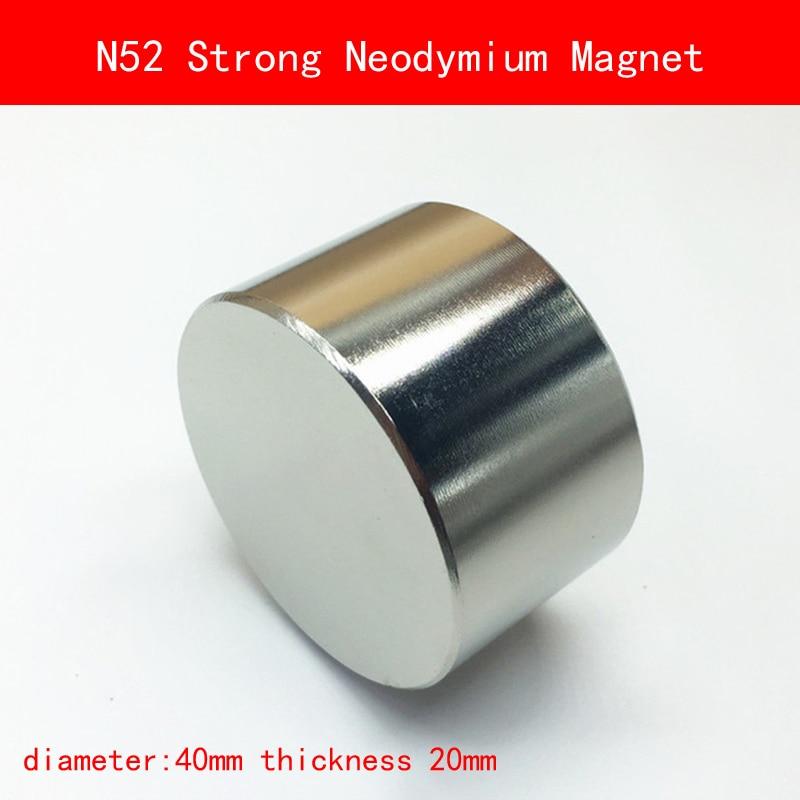 1PCS N52 Strong Round Dia 40mm x 20mm N52 Rare Earth Neodymium Magnet Art Craft Fridge 5pcs round circular cylinder 25 x 20 mm magnet rare earth neodymium 25 20 mm