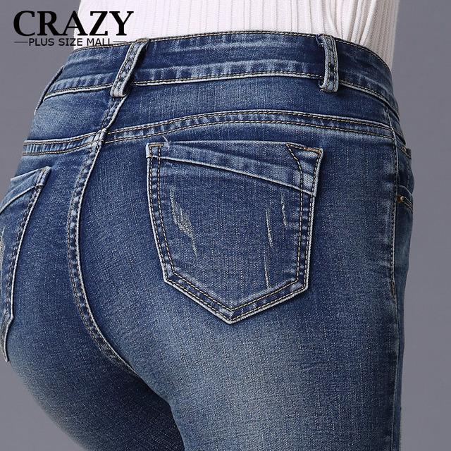 New 2017 S-9XL Women Plus Size Jeans Lady Dark Slim High Stretch Pencil Pants 8XL 7XL 6XL 5XL 4XL High Waist Skinny Jeans C9738