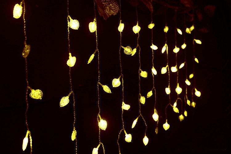 3 м x 3 м 300 LED сердца открытый Рождество Xmas Строка Фея Свадебное Шторы огни Освещение 220 ~ 240 В или 110 В цвета RGB