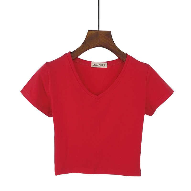 Verão casual coreano sólido com decote em v curto feminino camiseta de manga curta algodão cintura alta magro camisa feminina camisa mujer