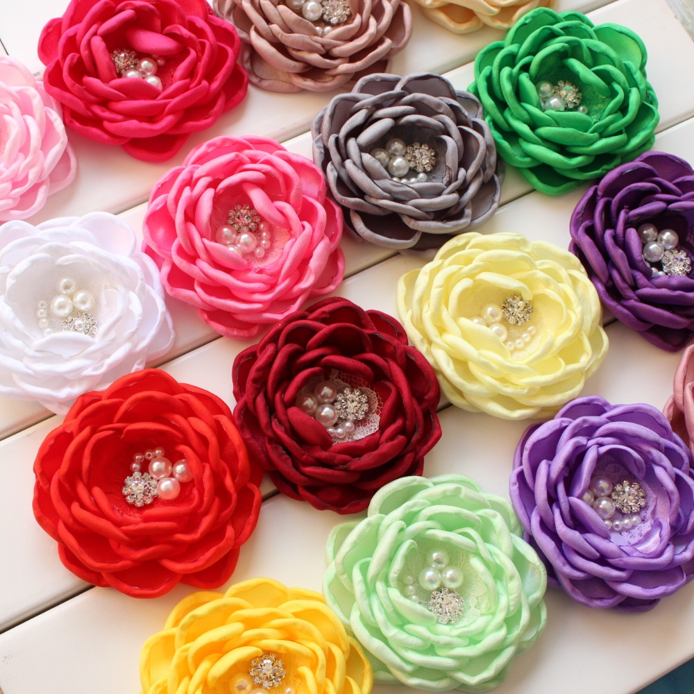 ifanBaby fabric flower satin Burned edges women 30 pcs