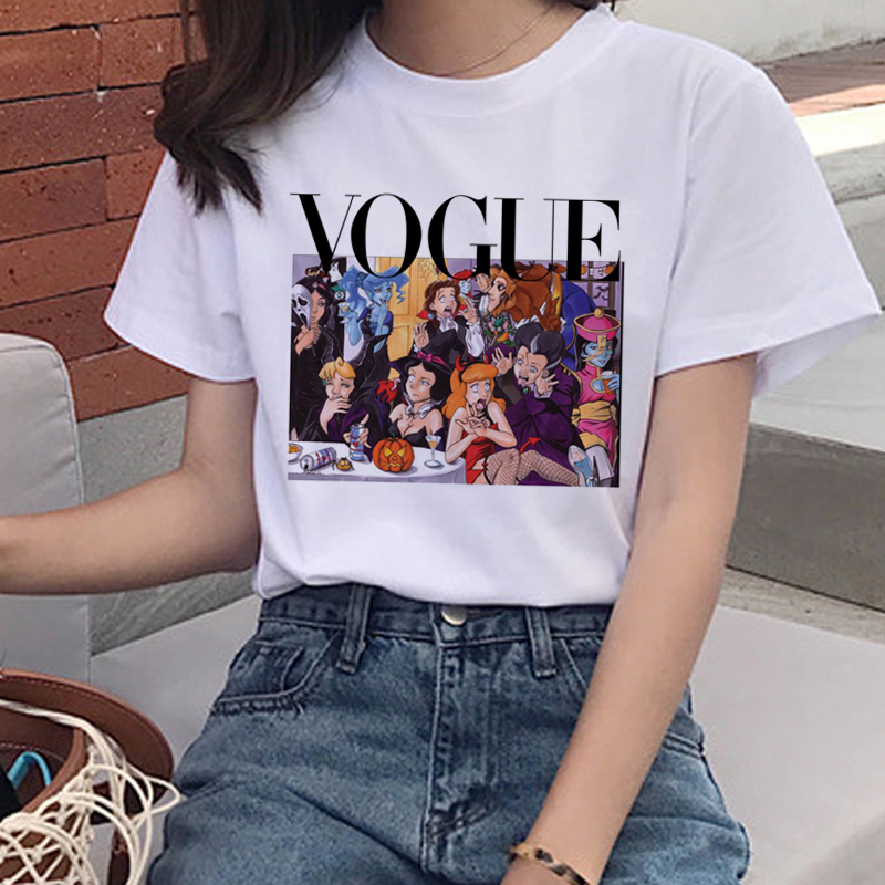New Vogue Summer Graphic   T     Shirt   Women Aesthetic Funny Cartoon   T  -  shirt   90s Princess Harajuku Tshirt Korean Style Top Tees Female