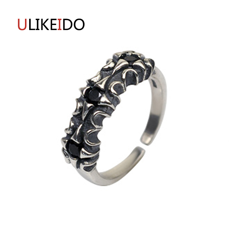 100% Pure 925 Sterling Silver Jewelry Black Stars Rings Wide Version Men Signet Ring For Women Special Christmas Gift 1117