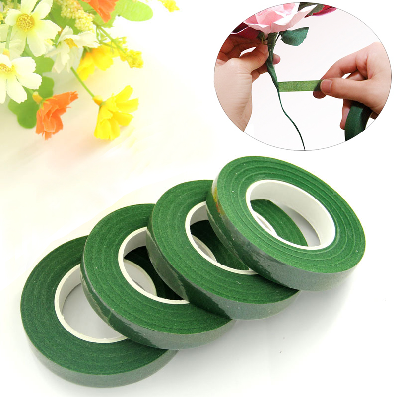 1PC 30 Yard Green Floral Stem Tape Stationery Tape DIY Decorative Masking Tape Resealable Stretchy Tape Nylon Flower Supplies