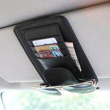 Evrensel araba oto vizör organizatör tutucu PU deri kılıf kart gözlük araba aksesuarları güneşlik Organizador araba styling