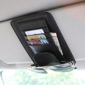 Image 1 - Universal Auto auto Sonnenblende Veranstalter Halter PU Leder Fall für Karte Gläser Auto Zubehör Sonnenblende Organizador Auto Styling