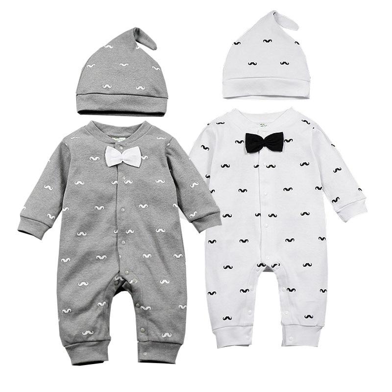 2019 Գարուն Նորածին տղաների հագուստի մորուքով Տպել Նորաձևություն Romper + Cap 2 հատ / հավաքածու Նորածին փոքրիկ մանկական հագուստի հավաքածու Bebes հանդերձանքներ 0-1T
