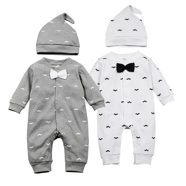 468fbdabc478 2019 Spring New Baby Boy Clothes Beard Print Fashion Romper+Cap 2pcs ...