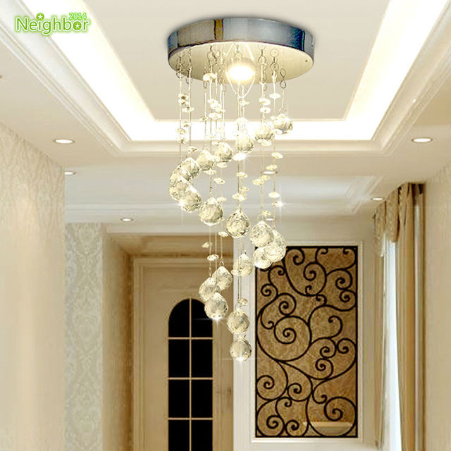 new modern crystal ceiling lights led 5w round aisle lighting