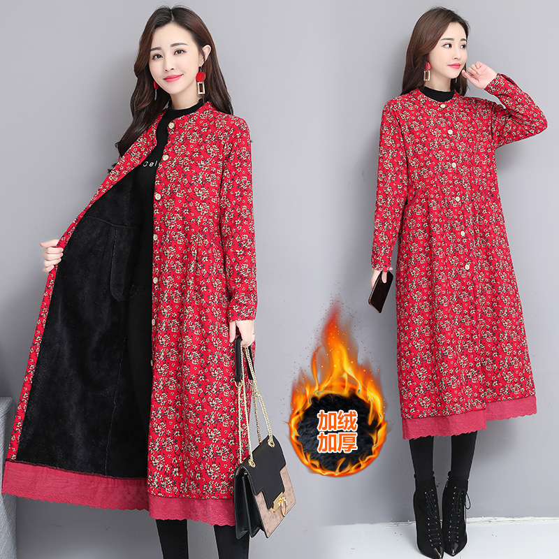 2020 Retro Floral Cotton Linen Jackets Women Autumn Winter Coat New Large Size Middle-aged Long Cardigan Windbreaker Female XA03