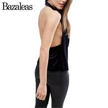 Bazaleas Summer Camis Velvet Black Women Tank Top Elastic V Neck Tops Backless Casual Halter Sleveeless