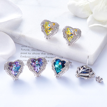 Women Angel Wing Heart Stud Earrings Embellished with crystals Swarovski (5 colors)