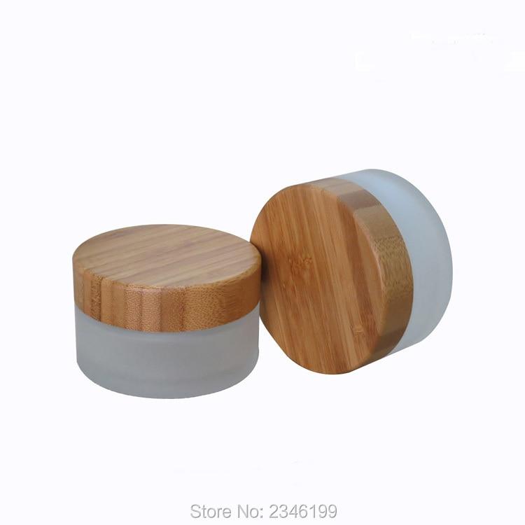 Frasco de vidrio con tapa de madera de bambú de 100g, 10 ML botella de vidrio esmerilado vacía cosméticos crema envase tapa de bambú. 10 unids/lote-in Botellas rellenables from Belleza y salud    1