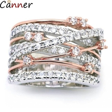 Canner Geometric Hollow Rings For Women Punk Cross Gold/Silver Rhinestone Crystal Trendy Finger Ring Jewelry Gift F4