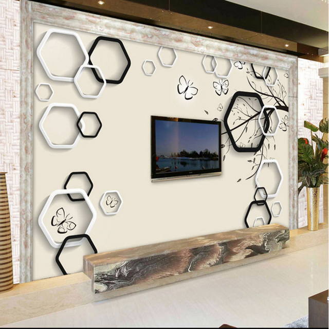 3d Hause Dekoration Benutzerdefinierte Tapete Für Wohnzimmer TV Hintergrund  Wand Verzieren Malerei Wandbild Geometrische Box Tapete