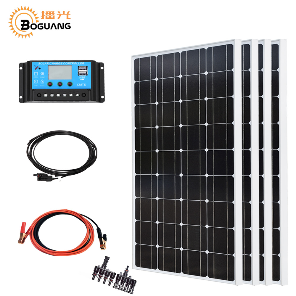 Boguang 400w solar system kit 4*100w solar panel photovotaic module mono cell 40A controller cable for home roof power charge 810mm 10m photovotaic cells eva solarcap for diy home solar panel system encapsulation
