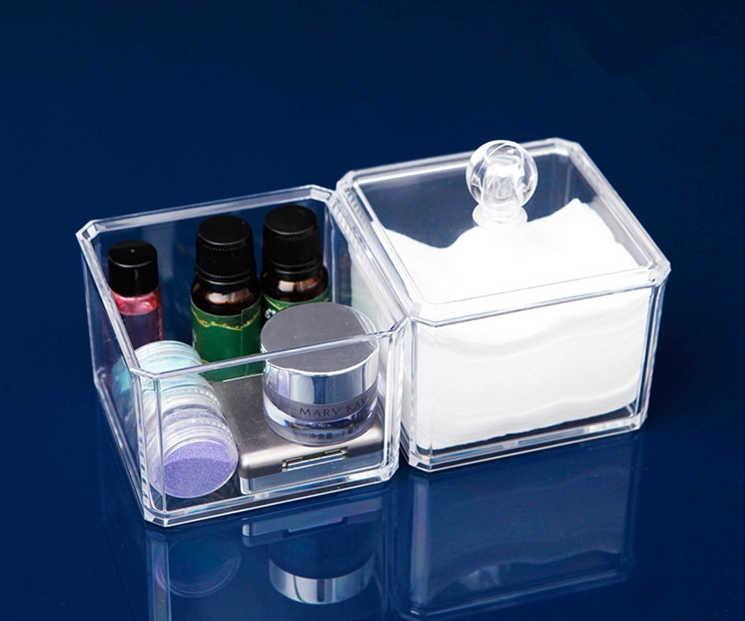Acrílico transparente Organizador Titular caixa de cotonete de Algodão Almofadas de Maquiagem Caixa de Jóias caixa de armazenamento de desktop Organizador para Cosméticos