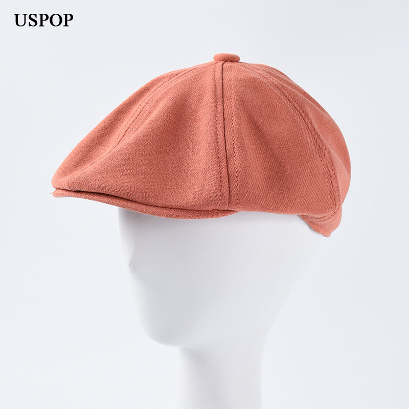 USPOP 2019 New autumn Couple hats adjustable solid color berets women men berets soft cotton visor caps(China)