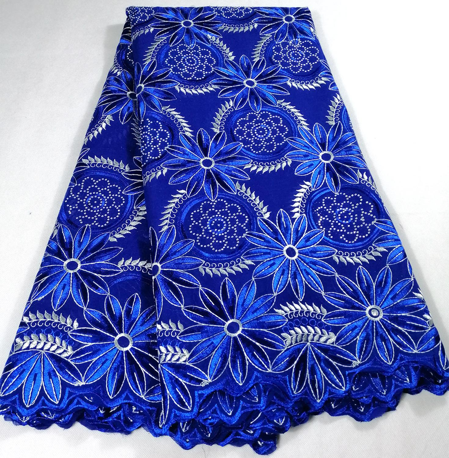 2019 Royal Blue New Design Nigeria lace fabric Fashion French African Cotton Swiss Voile Lace In