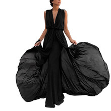 Women Sleeveless Maxi Dress Black Women V-Neck Party Dress Club Wear Vestido Vetement Femme 2019