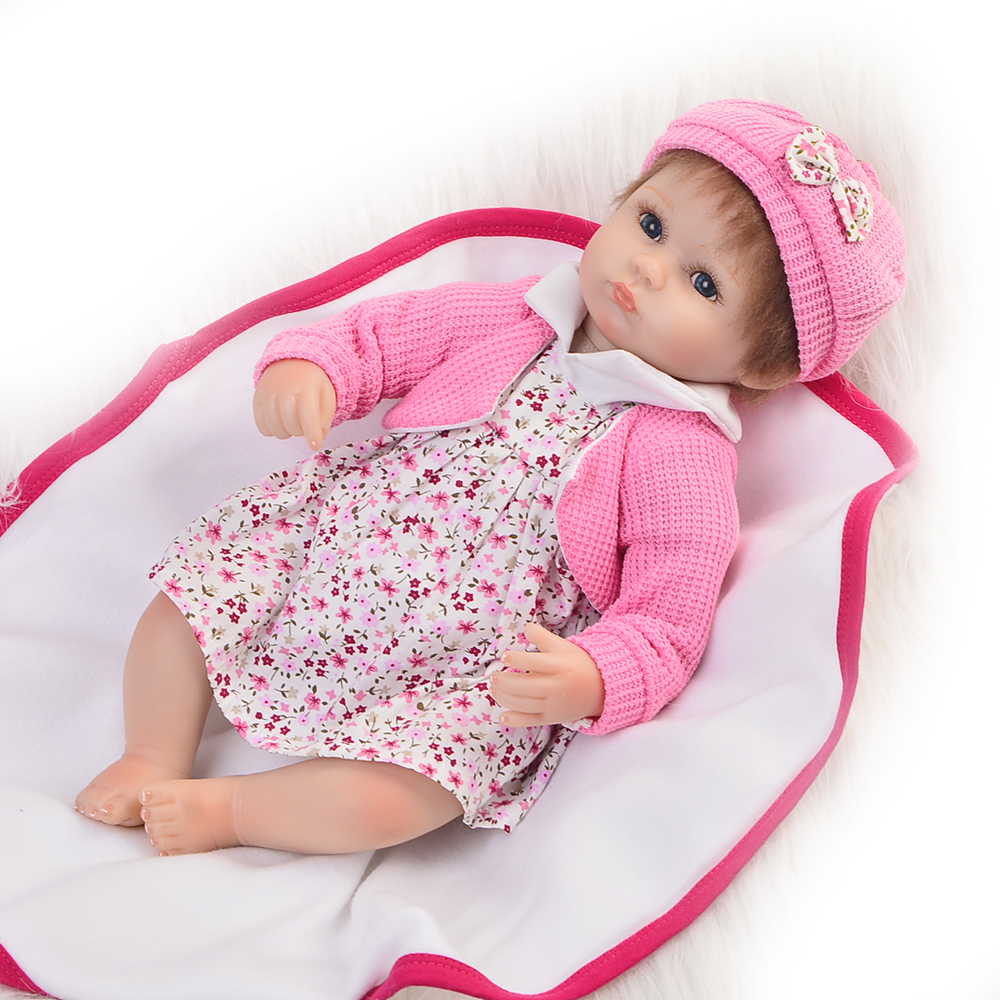 Handmade Babies Reborn 17 ''Soft Silicone Vinyl Newborn Dolls Toys Princess Alive 43 cm Cloth Body Baby Doll Girl Birthday Gifts adorable soft cloth body silicone reborn toddler princess girl baby alive doll toys with strap denim skirts pink headband dolls