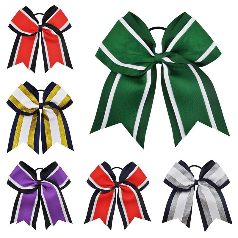 8 pulgadas Tres Capas Grosgrain Ribbon Hair Tie Cheerleading Bows Banda Elástica de Rayas Patchwork Niñas Arcos Accesorios Para el Cabello