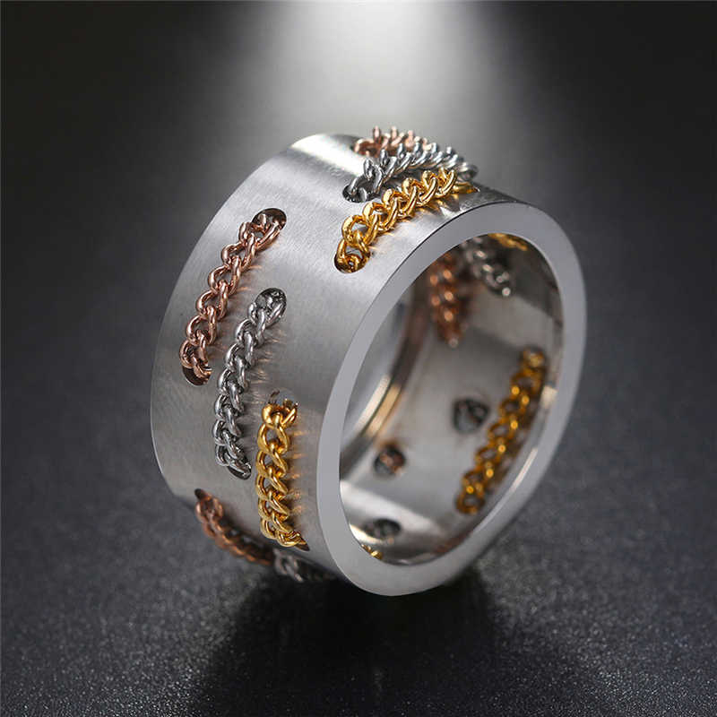 New Fashion Silver Stainless Steel Rings for Women Men Three Color Chain Bind Wedding Band Engagement Ring Jewelry anillos 2
