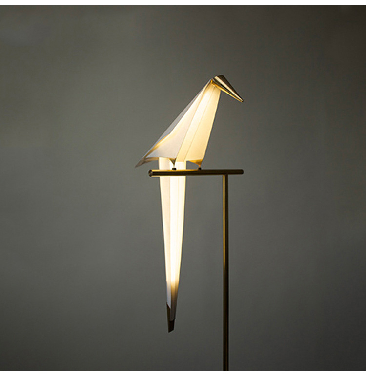 Image 3 - Bird Paper Floor lamp Nordic gold floor light Bedroom living room origami light Study Reading table lamp Deco Luminaire-in Floor Lamps from Lights & Lighting
